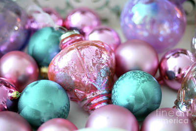 Photograph - Sparkling Holiday Christmas Pink Aqua Lavender Ornaments - Holiday Ornaments Prints Home Decor by Kathy Fornal
