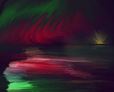 Sparkling Night Of The Aurora Borealis Art Print by Angela A Stanton