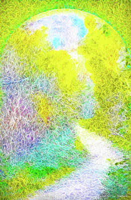 Art Print featuring the digital art Sparkling Pathway - Trail In Santa Monica Mountains by Joel Bruce Wallach
