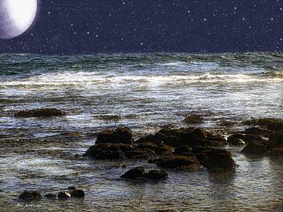 Sea Moon Full Moon Painting - Sparkling Sea by RC deWinter