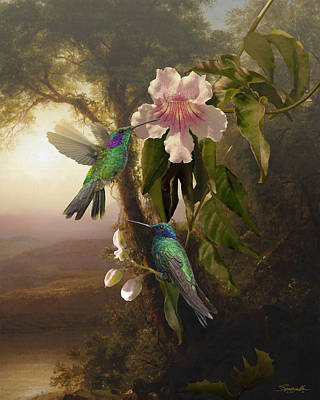 Digital Art - Sparkling Violetear Hummingbirds And Trumpet Flower by Spadecaller