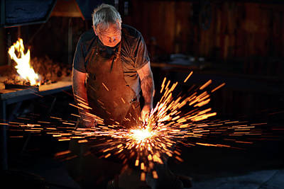 Sparks When Blacksmith Hit Hot Iron Art Print