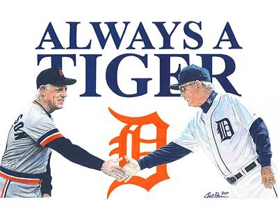 World Series Art Drawing - Sparky Anderson And Jim Leyland by Chris Brown