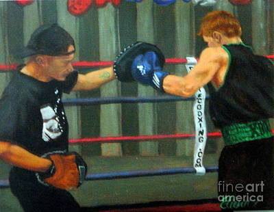 Painting - Sparring With Coach Boyle  by Clifford Etienne