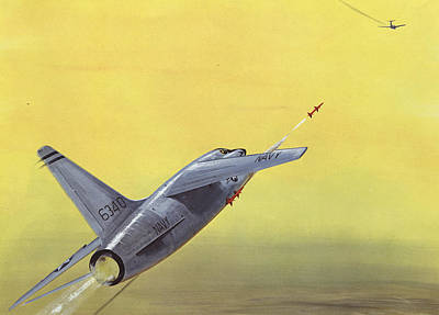 Fighter Jet Drawing - Sparrow Air To Air Missile  by American School