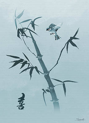 Digital Art - Sparrow And Bamboo by IM Spadecaller