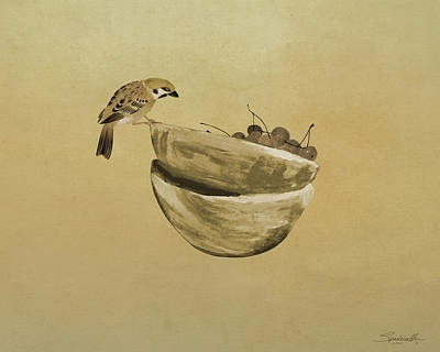 Mixed Media - Sparrow And Bowl Of Cherries by Spadecaller