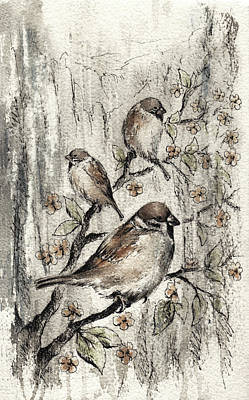 Mountain Valley Painting - Sparrow by Rachel Christine Nowicki