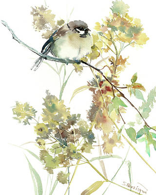Painting - Sparrow And Dry Plants by Suren Nersisyan