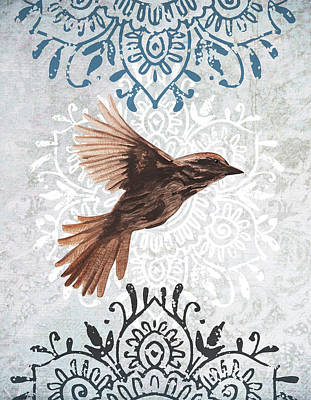 Painting - Sparrow With Ornament by Masha Batkova