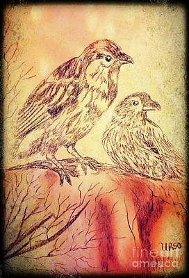 Mixed Media - Sparrows 2 by Maria Urso