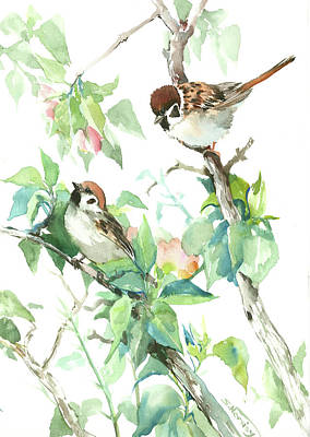 Sparrows And Apple Blossom Art Print by Suren Nersisyan