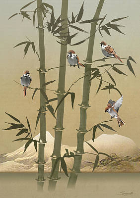 Digital Art - Sparrows And Bamboo  by IM Spadecaller