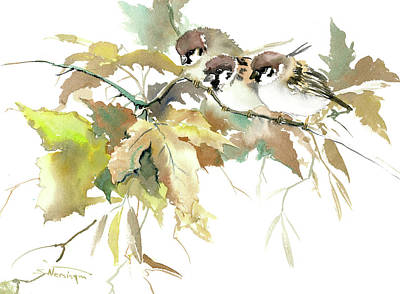 Painting - Sparrows And Fall Tree by Suren Nersisyan