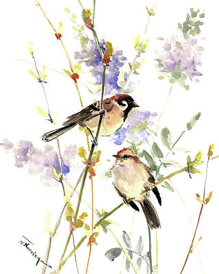 Painting - Sparrows And Spring by Suren Nersisyan