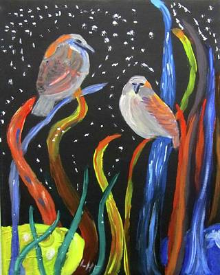 Painting - Sparrows Inspired By Chihuly by Linda Feinberg