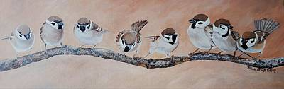 Painting - Sparrows On A Branch by Julie Brugh Riffey