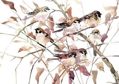 Painting - Sparrows On Fall Tree by Suren Nersisyan