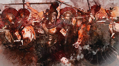 Painting - Spartan Army At War - 12 by Andrea Mazzocchetti