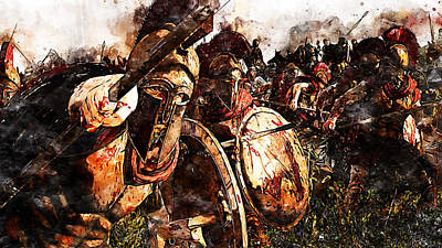 Painting - Spartan Army At War - 18 by Andrea Mazzocchetti