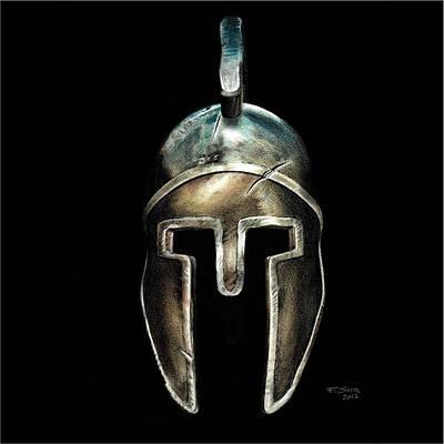 Drawing - Spartan Helmet by Ferran Serra