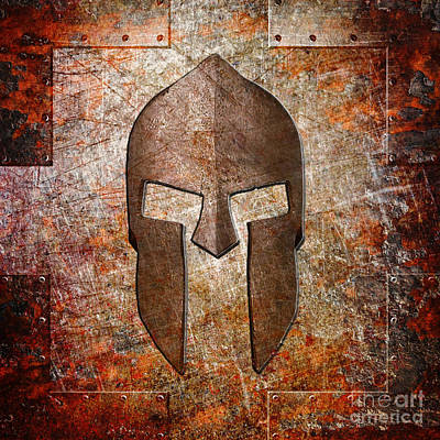 Digital Art - Spartan Helmet On Rusted Riveted Metal Sheet by M L C