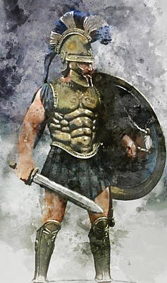 Painting - Spartan Hoplite - 11 by Andrea Mazzocchetti