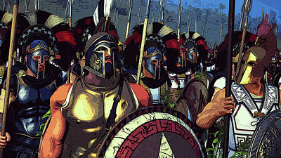 Painting - Spartan Hoplites Army by Andrea Mazzocchetti