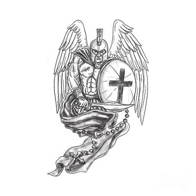 Spartan Warrior Angel Shield Rosary Tattoo Art Print by Aloysius Patrimonio