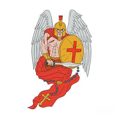 Spartan Warrior Angel Sword Rosary Drawing Art Print by Aloysius Patrimonio