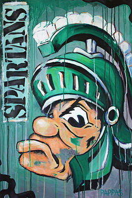 Basketball Abstract Painting - Spartans by Julia Pappas