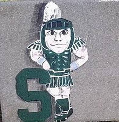 Michigan State Mixed Media - Sparty Stone by Kate Hager