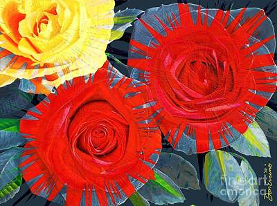 Spattered Colors On Roses Art Print by Don Evans