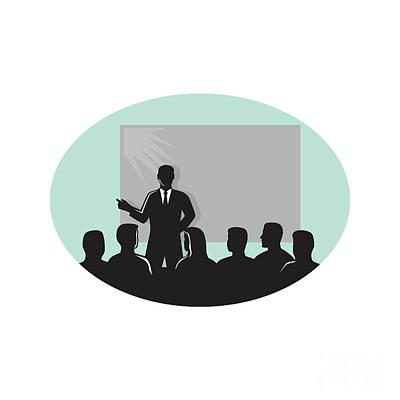 Speaker Audience Projector Screen Oval Woodcut Art Print