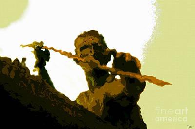 Tribal Art Painting - Spearfishing Man by David Lee Thompson