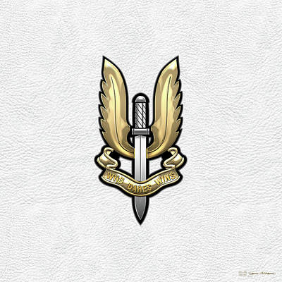 Digital Art - Special Air Service - S A S Badge Over White Leather by Serge Averbukh