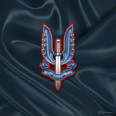 Digital Art - Special Air Service - S A S Insignia Over Flag by Serge Averbukh