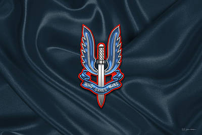 Digital Art - Special Air Service - S A S Insignia Over Unit Flag by Serge Averbukh