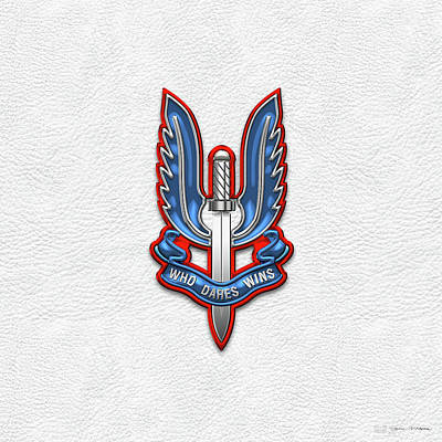 Digital Art - Special Air Service - S A S Insignia Over White Leather by Serge Averbukh