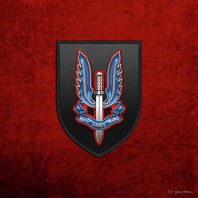 Digital Art - Special Air Service - S A S Patch Over Red Velvet by Serge Averbukh