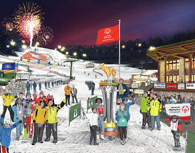 Drawing - Special Olympics Winter Games by Albert Puskaric