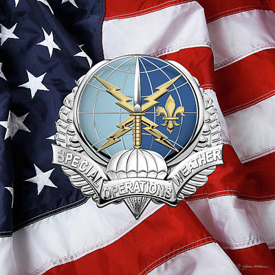 Digital Art - Special Operations Weather Team -  S O W T  Badge Over American Flag by Serge Averbukh