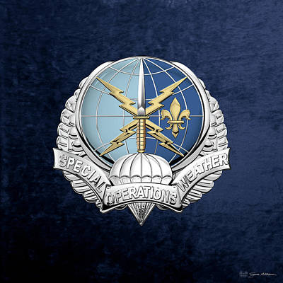 Digital Art - Special Operations Weather Team -  S O W T  Badge Over Blue Velvet by Serge Averbukh