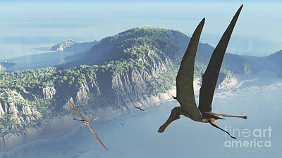 Prehistoric Era Digital Art - Species From The Genus Anhanguera Soar by Walter Myers