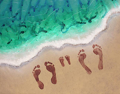 Footprints In The Sand Painting - Speck Family Beach Feet by April Kasper