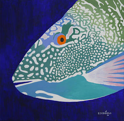 Parrotfish Painting - Speckled Parrotfish by John Edebohls