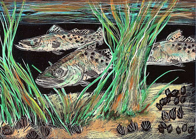 Speckled Trout Painting - Specks In The Grass by Robert Wolverton Jr