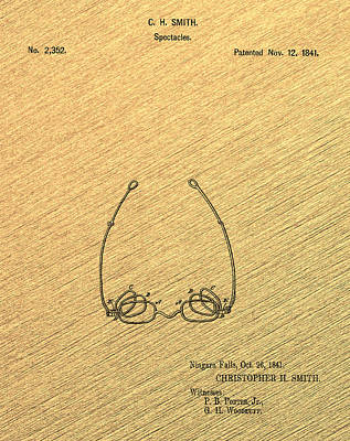 Optometry Digital Art - Spectacles Patent 1841 Vintage Wood Grain by Bill Cannon