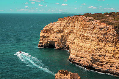 Photograph - Spectacular Coastal Boat Trip In Teal And Orange by Georgia Mizuleva