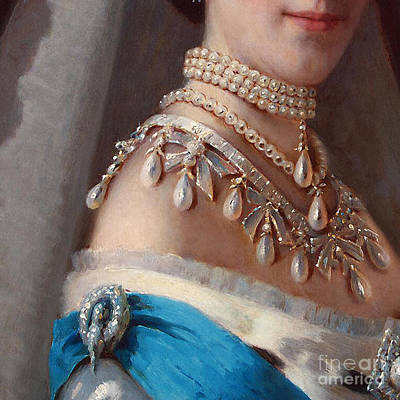 Historical Fashion, Royal Jewels On Empress Of Russia, Detail Art Print by Tina Lavoie